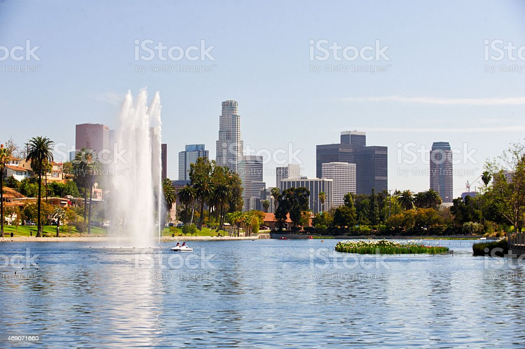 Panoramic view of the Los Angeles skyline stock photo