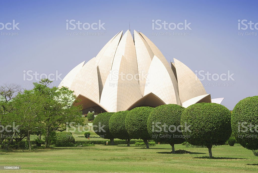 Panoramic view of the Lotus temple and its surroundings stock photo