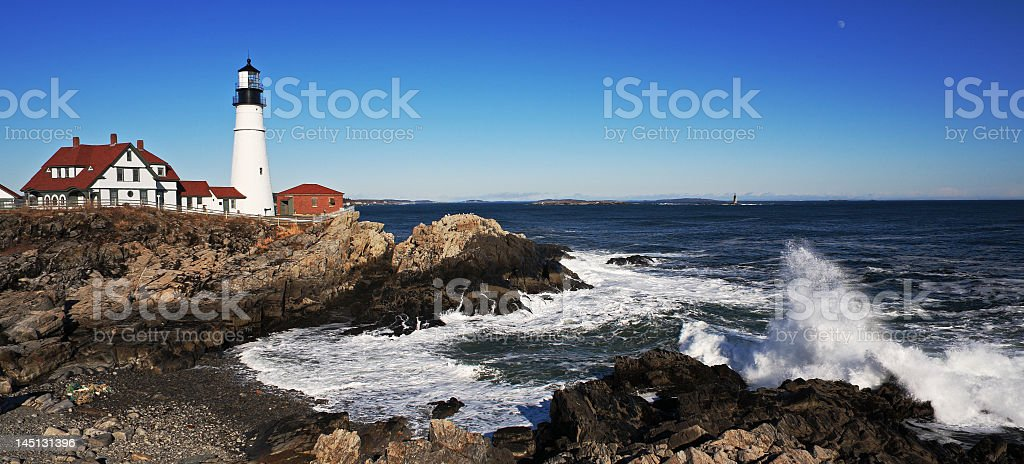 Panoramic view of the Maine lighthouse stock photo