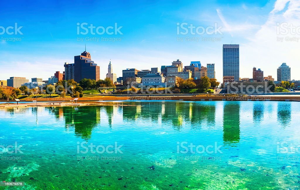 Panoramic view of the Memphis skyline over turquoise waters stock photo