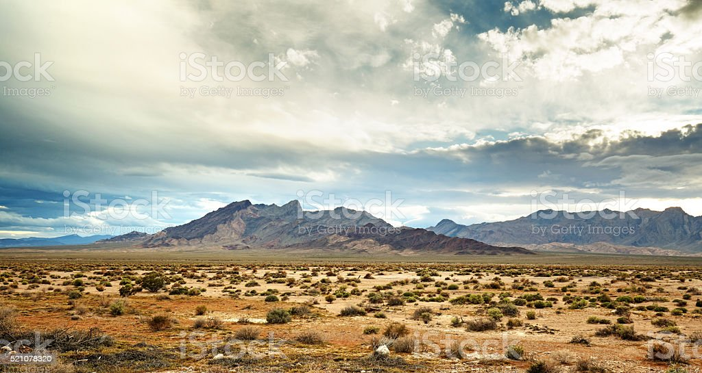panoramic view of the mojave desert stock photo
