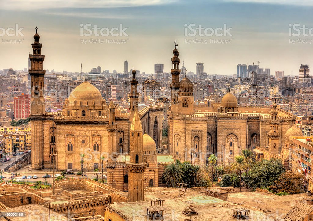 Panoramic view of the Mosques of Sultan Hassan and Al-Rifai stock photo