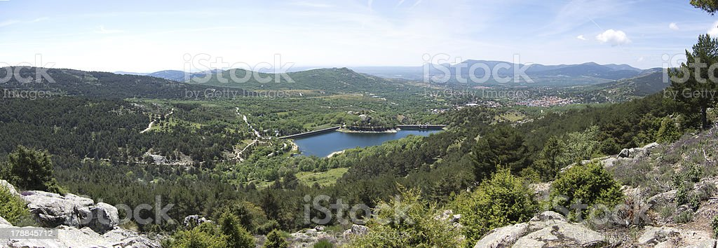 Panoramic View Of The Navalmedio's Reservoir, Guadarrama stock photo