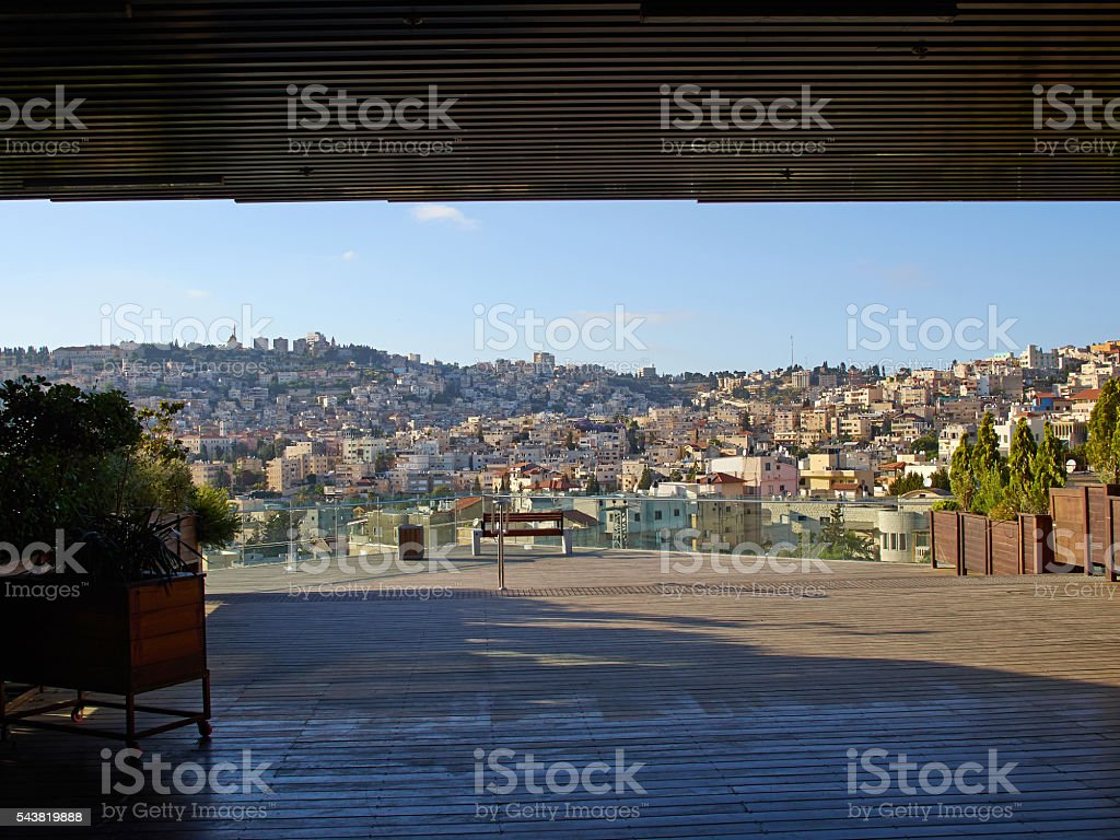 Panoramic view of the Old City  Nazareth, Israel stock photo