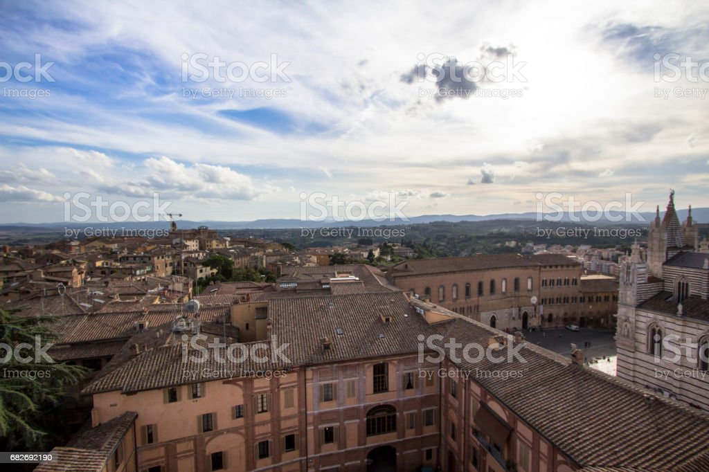 Panoramic view of the old city of Siena, Tuscany, Italy stock photo