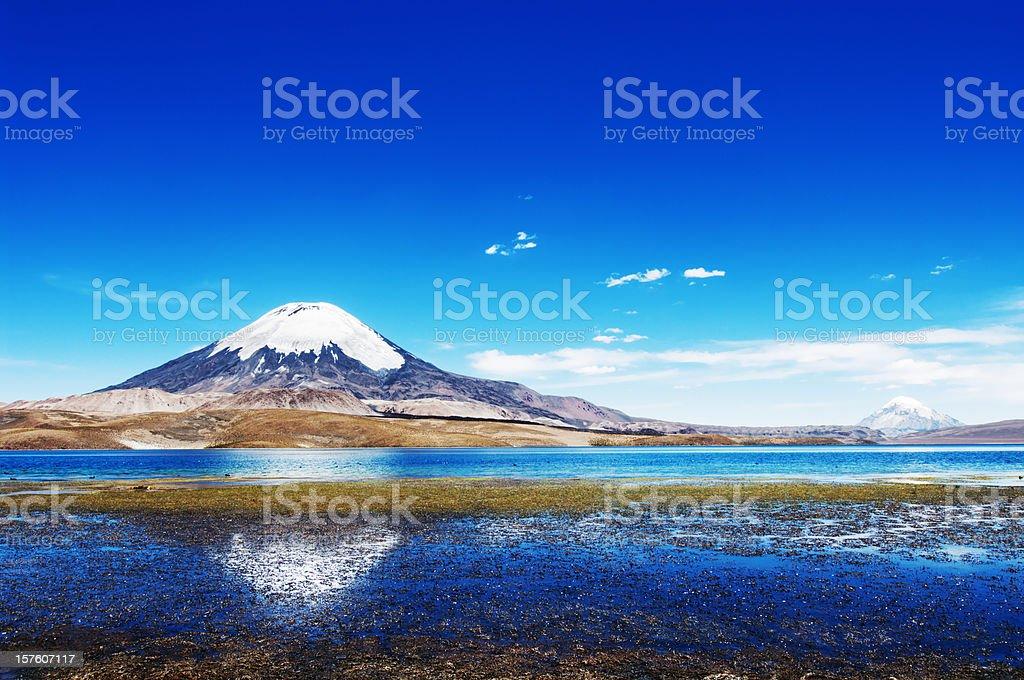 Panoramic view of the Parinacota volcano royalty-free stock photo