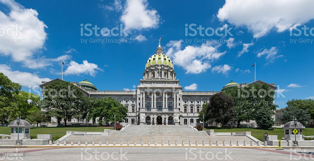 Panoramic view of the Pennsylvania State Capitol stock photo