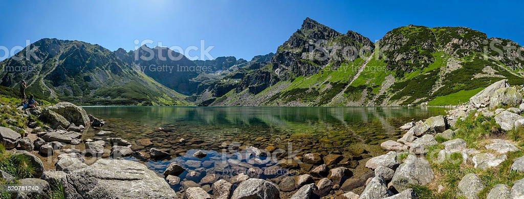 Panoramic view of the Polish Black Pond 'Czarny Staw' stock photo