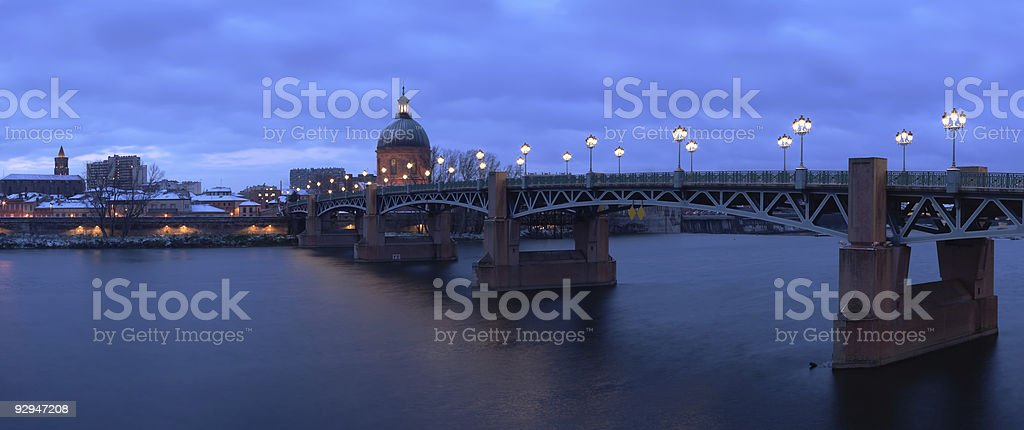 Panoramic view of the Pont St-Pierre in Toulouse, France stock photo
