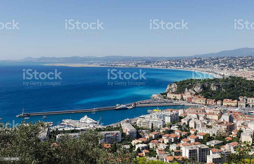 Panoramic view of the Port and Beach of Nice, France royalty-free stock photo