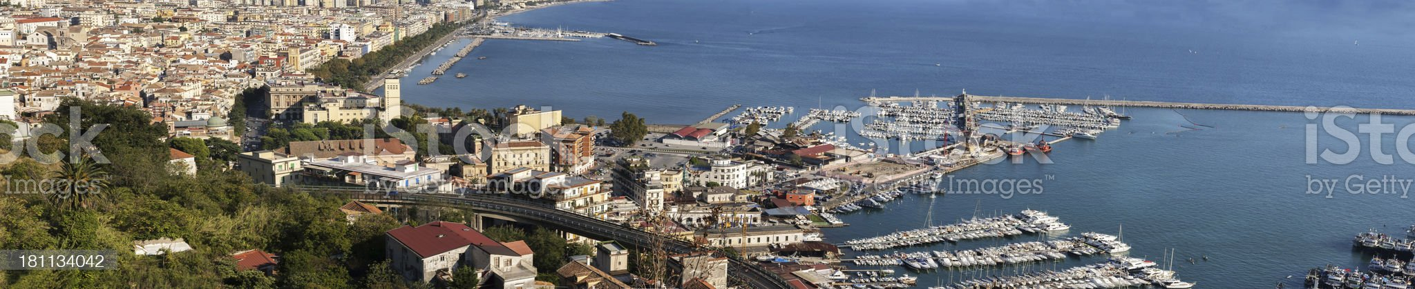 Panoramic view of the port in Salerno, Italy royalty-free stock photo