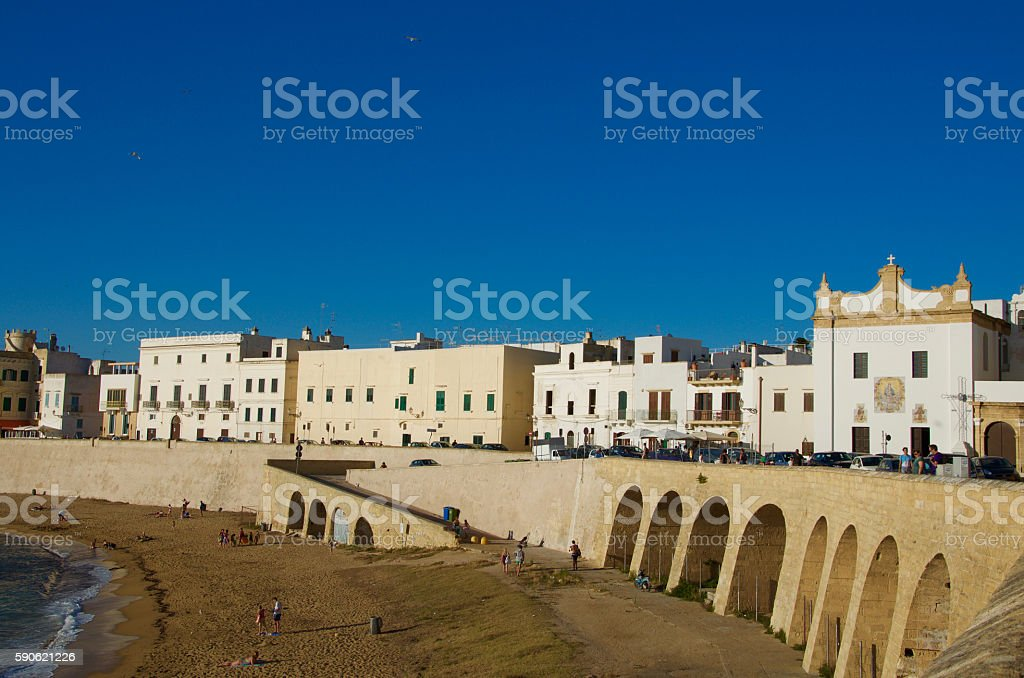 Panoramic view of the port of Gallipoli, Salento, Apulia, Italy stock photo