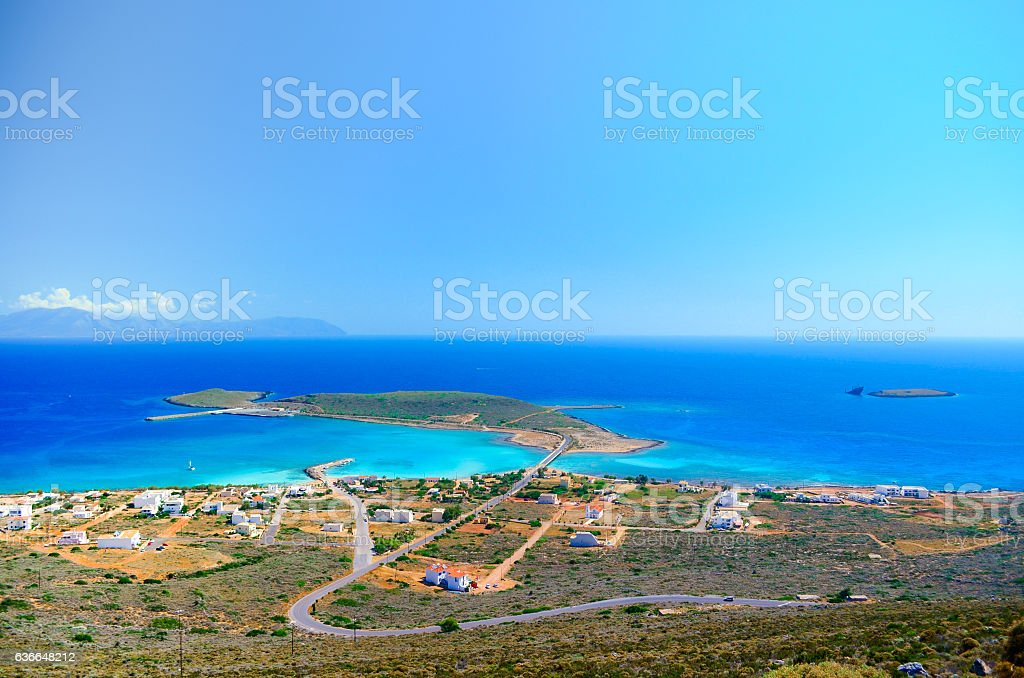 Panoramic view of the port of Kythera with the the ship wreck 'Nordland'. stock photo