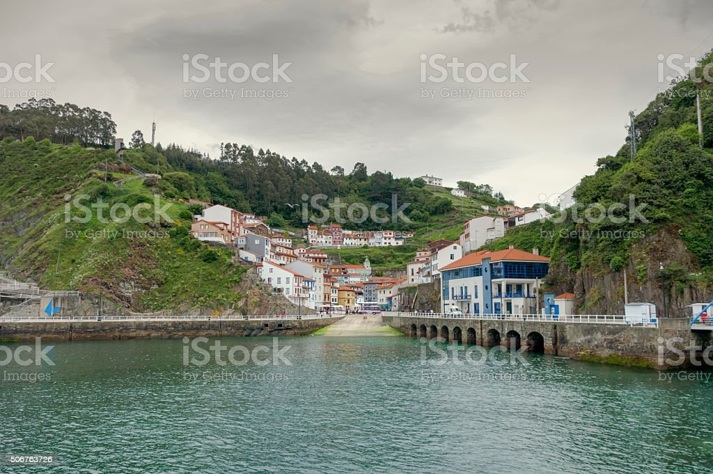 Panoramic view of the port to Cudillero in Asturias, Spain stock photo