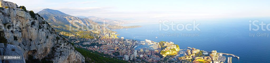 Panoramic View of the Principality of Monaco stock photo