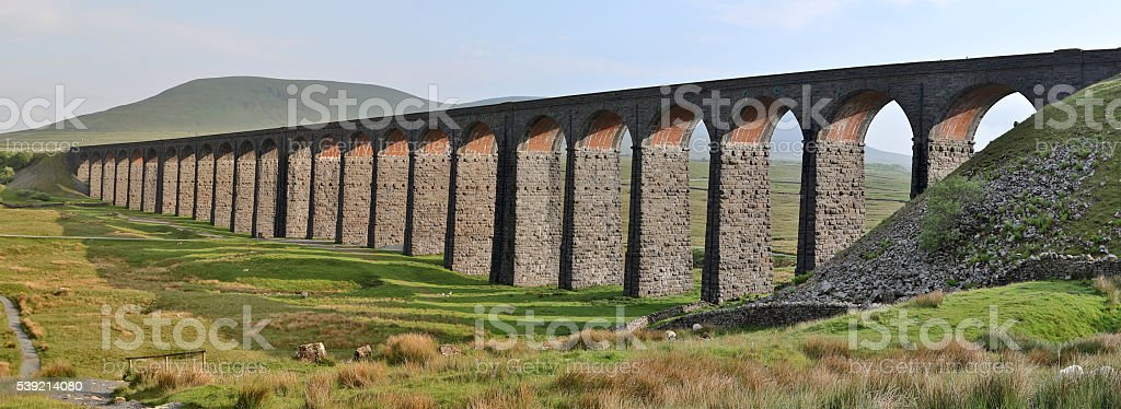 Panoramic View of the Ribblehead Viaduct in North Yorkshire, England stock photo