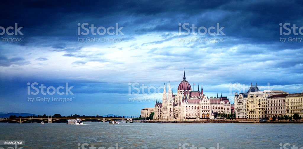 Panoramic view of the River Danube at Budapest stock photo