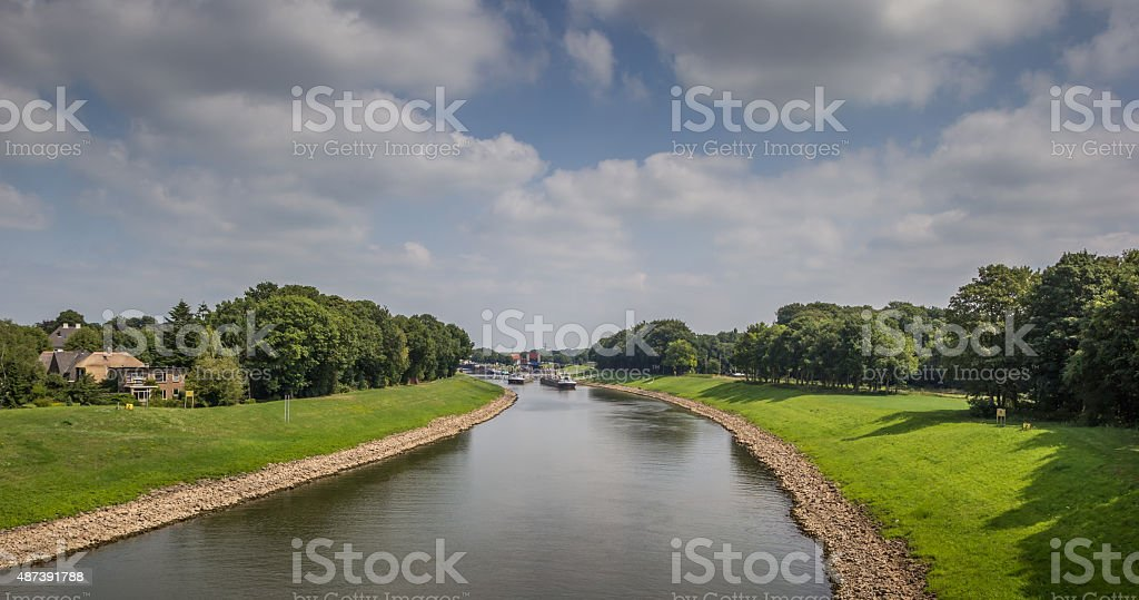 Panoramic view of the river IJssel near Deventer stock photo