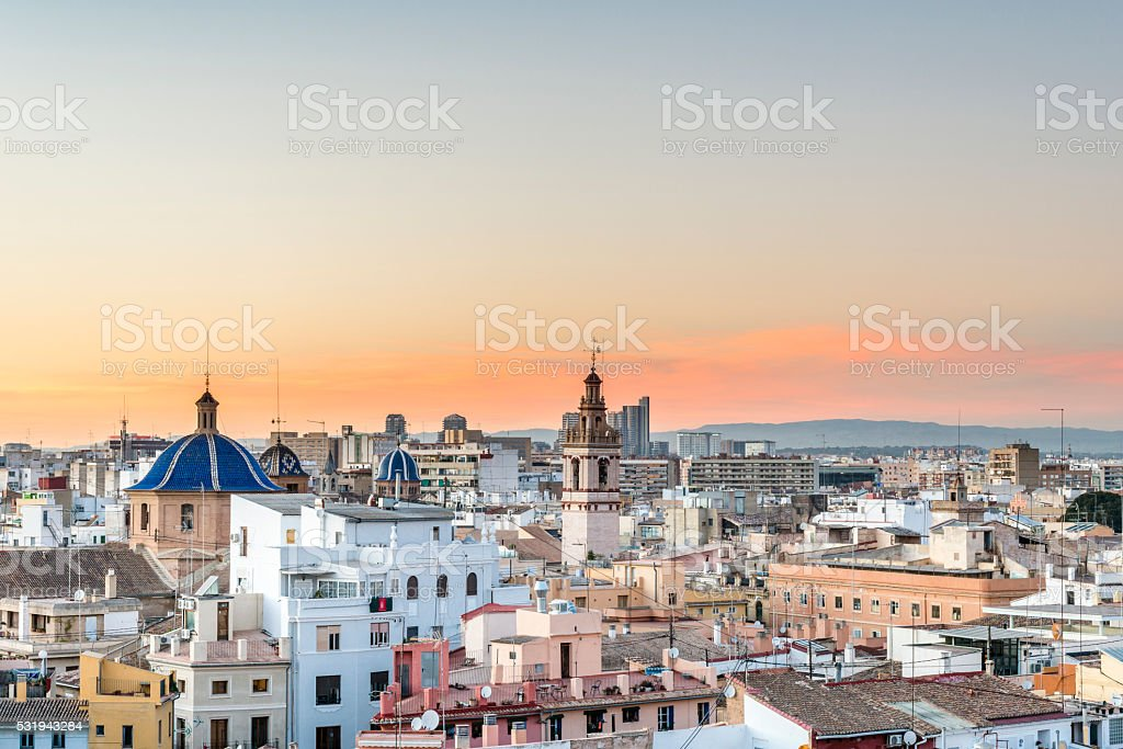 Panoramic view of the roofs of Valencia stock photo
