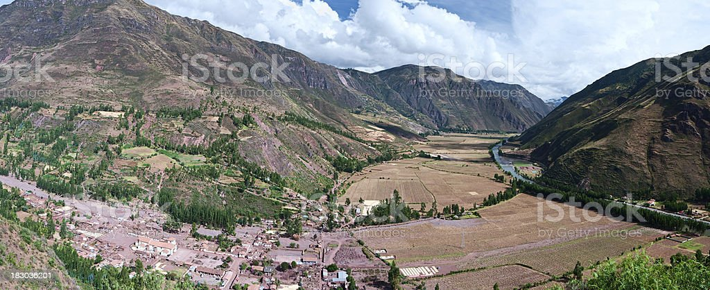 Panoramic view of the Sacred Valley in Peru royalty-free stock photo