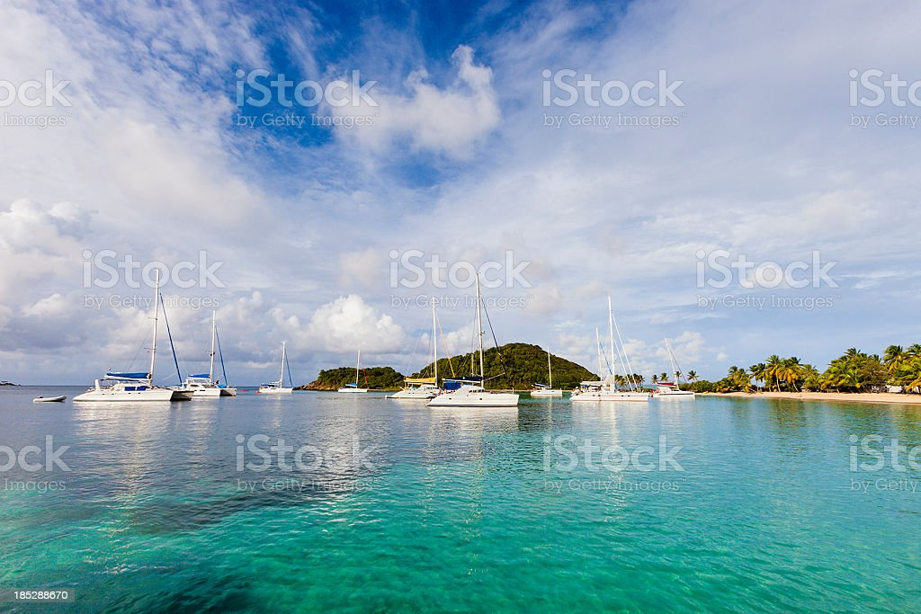 Panoramic view of the Salt Whistle Bay at Mayreau stock photo