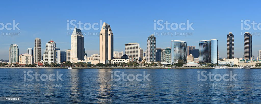 Panoramic view of the San Diego skyline from the water royalty-free stock photo