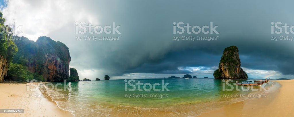 Panoramic view of the sea and Phra Nang beach in inclement weather stock photo