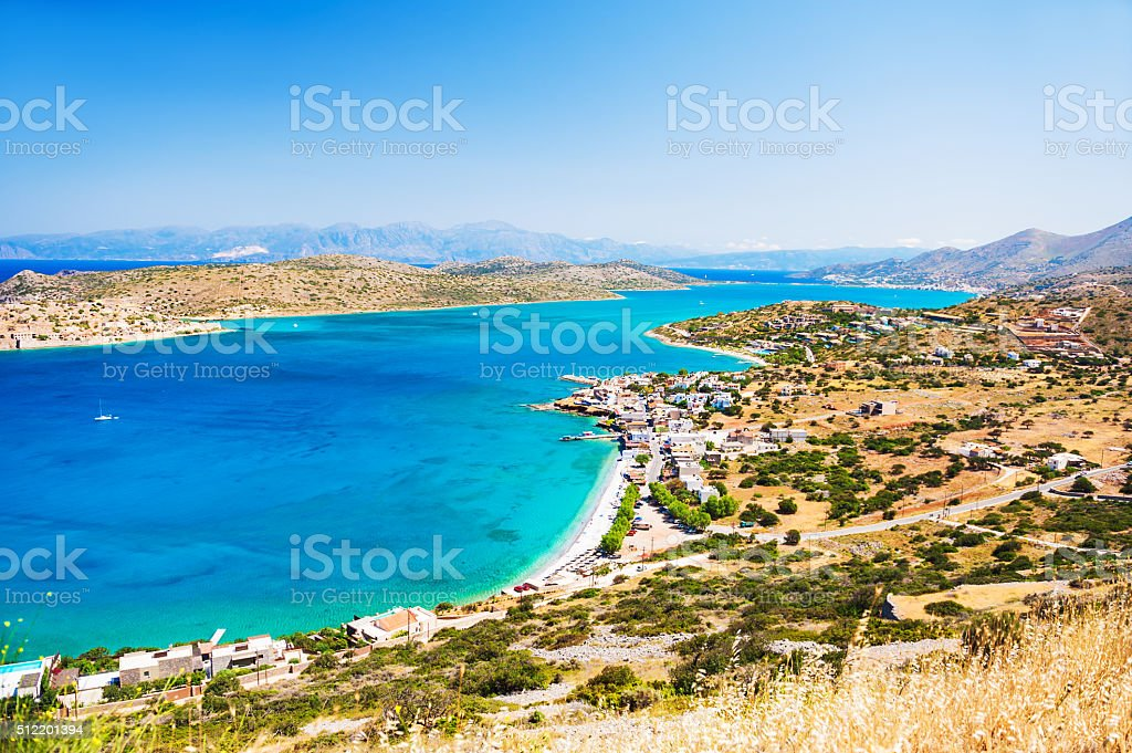 Panoramic view of the sea coast with turquoise water. stock photo
