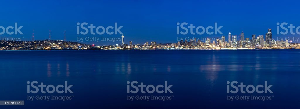 Panoramic View of the Seattle Skyline at Twilight (XXXL) stock photo