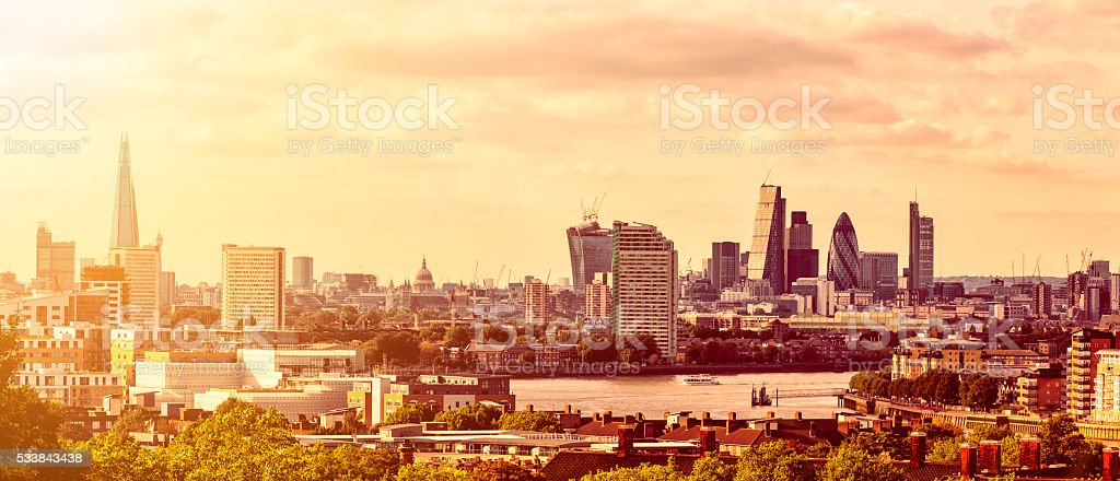 Panoramic view of The Shard St Paul's City of London stock photo