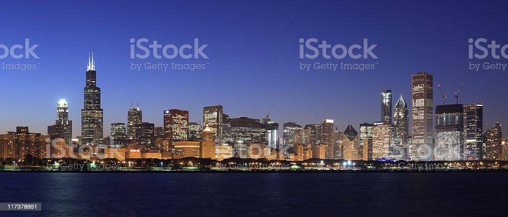 A panoramic view of the skyline in Chicago at night stock photo