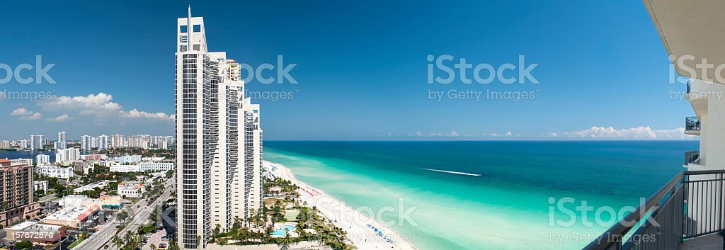 panoramic view of the skyline in Miami, Florida stock photo
