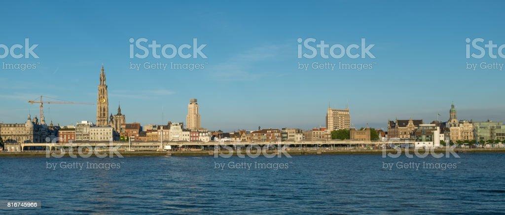 Panoramic view of the skyline of Antwerp, Belgium. stock photo