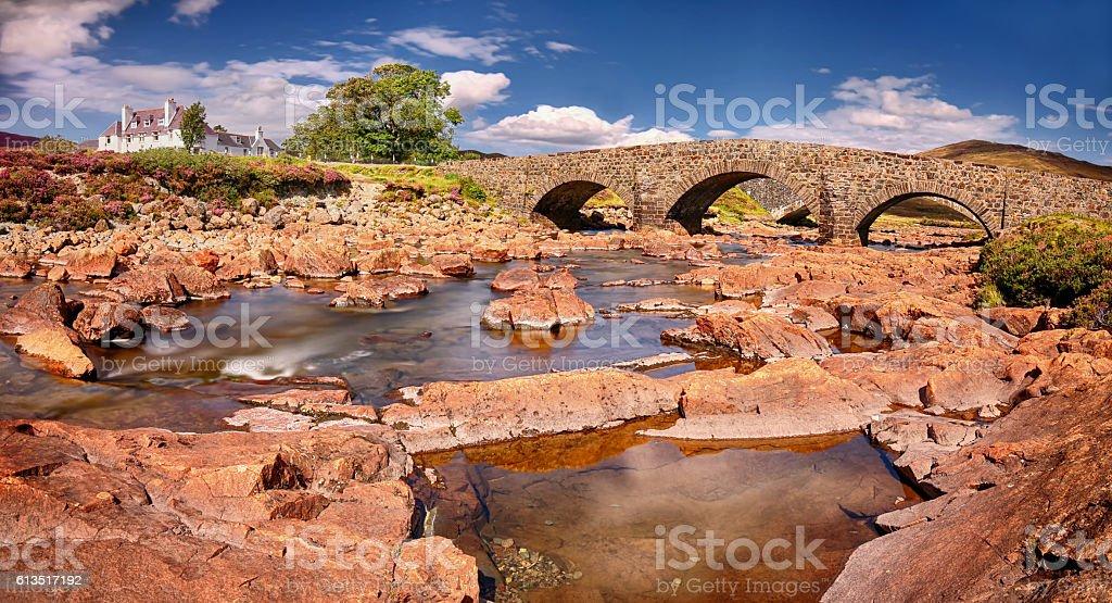 Panoramic view of the Sligachan Bridge (Isle of Skye, Scotland stock photo