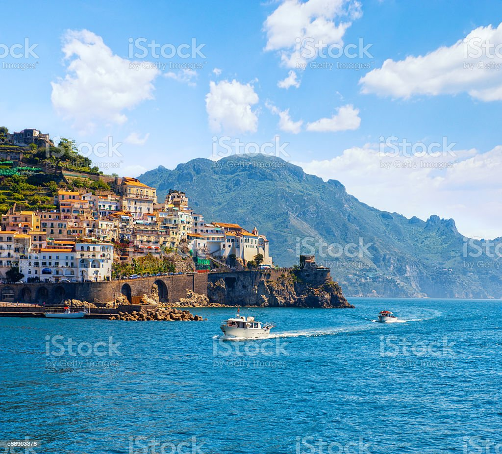 Panoramic view of the small town and the sea. Italy, Amalfi. stock photo