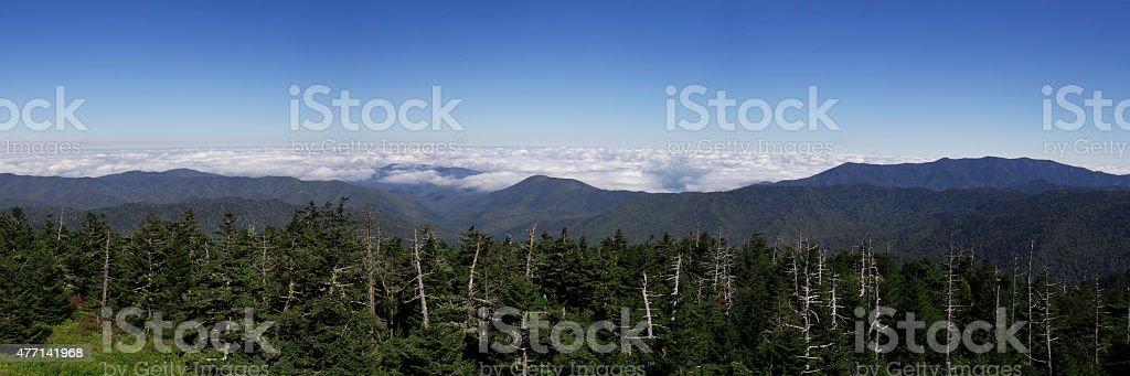 Panoramic view of the Smoky Mountains stock photo