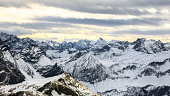 Panoramic view of the snow-capped Alps. Germany