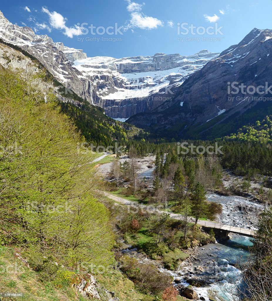 Panoramic view of the spring valley of Gavarnie stock photo