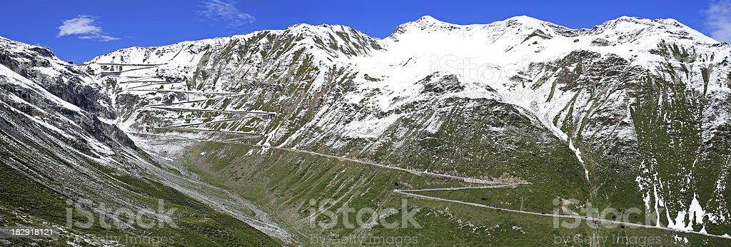 Panoramic view of the Stelvio Pass (European Alps) stock photo
