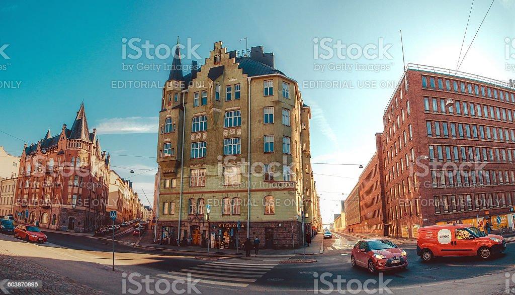 Panoramic view of the streets and buildings of Katajanokka стоковое фото
