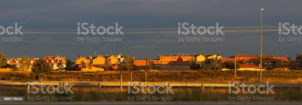 Panoramic View of the Suburbs of a City - Panoramica de los Extrarradios de una Ciudad stock photo