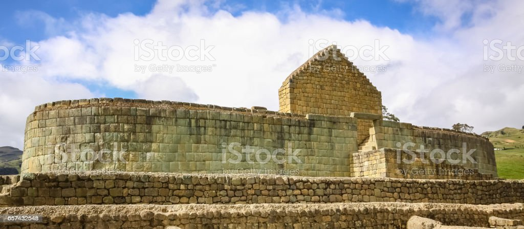 Panoramic view of the Temple of the Sun, famous Inca ruins of Ingapirca stock photo
