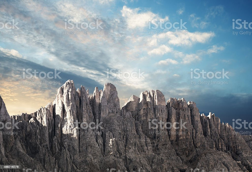 panoramic view of the top of a mountain range stock photo