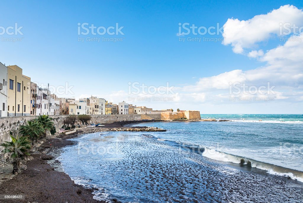 Panoramic view of the Trapani harbor, Sicily, Italy. stock photo