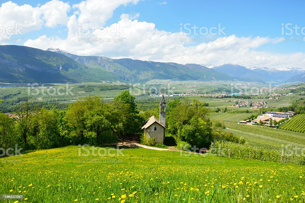 Panoramic view of the Val di Non ,Trento, Italy stock photo