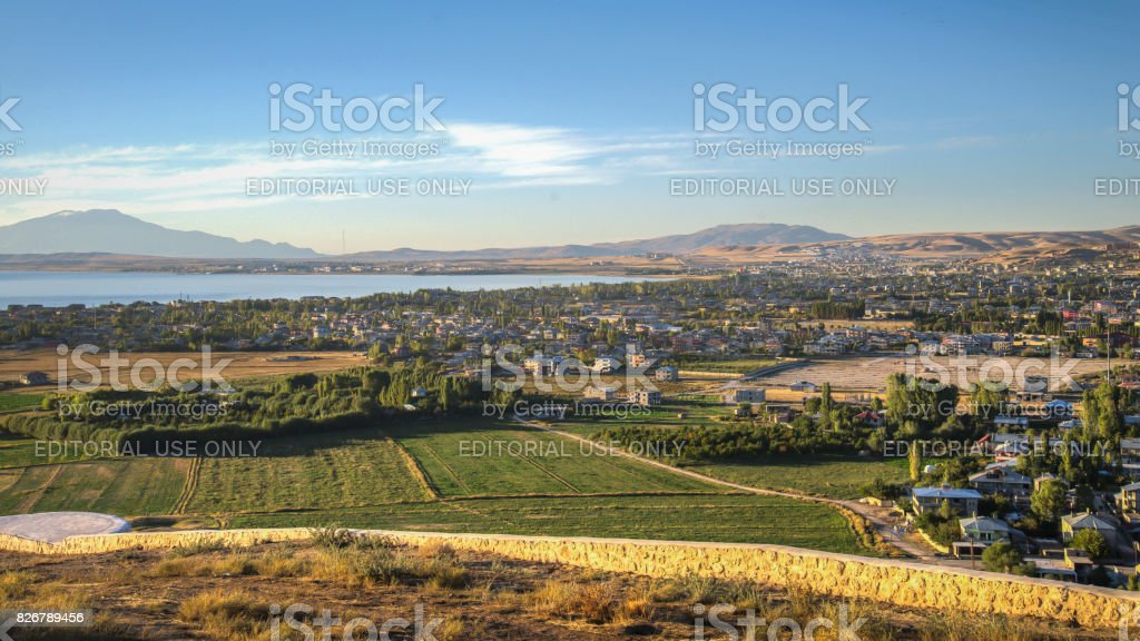 Panoramic view of the Van city, Turkey stock photo