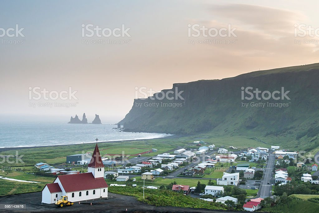 Panoramic view of the Vik at sunset. South Iceland. stock photo