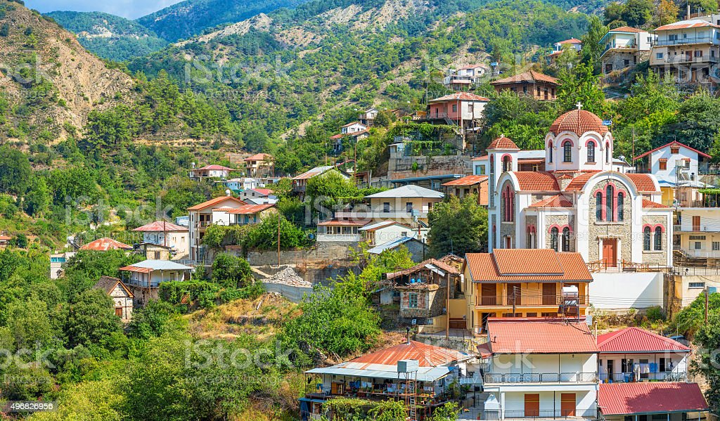 panoramic view of the village Moutoullas. Nicosia district. Cypr stock photo