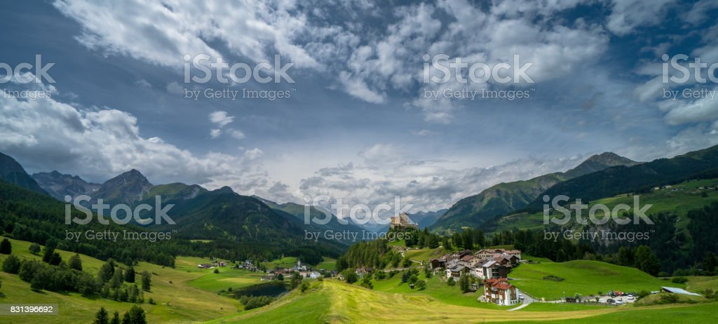 panoramic view of the village of Tarasp in the Swiss Alps stock photo