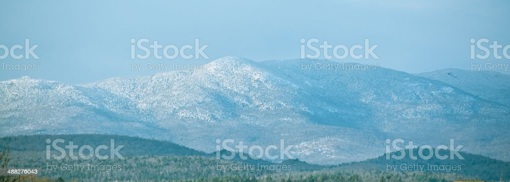 Panoramic view of the Worcester Range in Vermont stock photo
